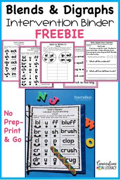 Blends and Digraphs Activities FREE for kindergarten, first grade and below level second grade students for building decoding in struggling readers.  Make teaching phonics and decoding easier with these games and worksheet alternative fun printables that are no prep just print and go! #decoding #phonics #guidedreading #elementary #classroom #conversationsinliteracy #readinginterventions