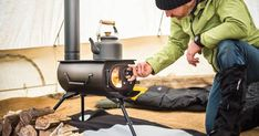 Attention serious campers- how about a portable wooden stove. YES, IT IS POSSILBE! The Frontier Plus Wood Stove compactly fits into your car and can turn your next camping trip into the most romantic one yet. Tent Stove, Camping Stove, Cosy Camping, Truck Camping, Best Camping Gear, Camping Survival, Camping Gadgets, Bushcraft Camping, Camping Checklist