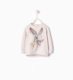 Embroidered rabbit sweatshirt-Sweatshirts-Baby girl | 3 months - 3 years-KIDS | ZARA United States