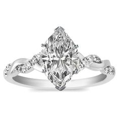 Engagement Ring - Marquise Diamond Petite twisted pave band Engagement Ring in 14K White Gold - ES873MQWG ($595) found on Polyvore
