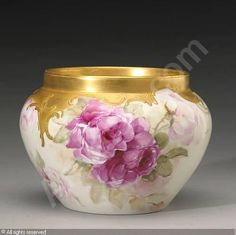 A Porcelain Jardinière with Hand Painted Roses by Franz Bischoff