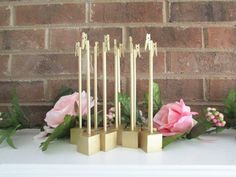 10 Gold Rustic Wood Table Number Holders 7 by brightsoslight