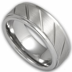 8MM Men's Tungsten Ring w/ Stepped Edge and Diagonal Grooves. Engraving is available for this ring at #ringninja. $59.99.      http://ring-ninja.com/tungsten-mens-ring-rntu080.html