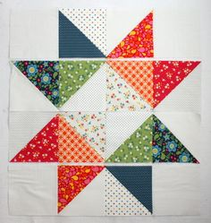 Easy DIY modern Star Baby quilt tutorial This would be pretty in shades of blue with white accents or all pinks with white. Big Block Quilts, Star Quilt Blocks, Small Quilts, Easy Quilts, Mini Quilts, Owl Quilts, Baby Quilt Tutorials, Quilting Tutorials, Quilting Projects