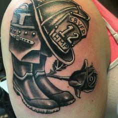Firefighter tattoo. Memorial tattoo. Ems Tattoos, Hand Tattoos, Tattoos For Guys, Cool Tattoos, Brother Tattoos, Sleeve Tattoos, Tatoos, Fireman Tattoo, Firefighter Tattoos