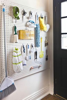 The laundry room can be an organizational minefield — but it doesn't have to be. We love how A Beautiful Mess blogger Elsie updated her laundry room with this colorful, easy-access pegboard. It's an ideal way to keep all of your miscellaneous supplies close-at-hand.