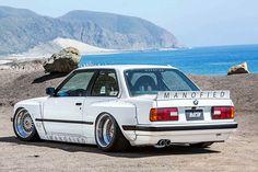 BMW E30 3 series white deep dish slammed manofied