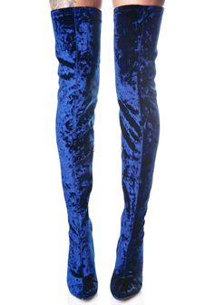 """Planetary Thigh-High Boots are a vision of beauty across the galaxy, babe. These ultra sexXxy thigh high boots feature a gorgeous crushed royal blue velvet construction, 4"""" covered block heels, pointed toes, a sleek 'N curve huggin' fit all the way up, and inner ankle zipper closure."""