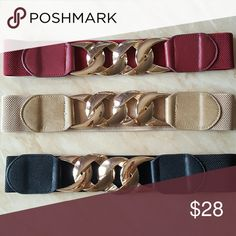 Chain Belt Brand new, never worn. Available in Black, beige, and red. Elastic band. So many other styles and Colors available in my closet!   Fast shipping!  No trades.   Thank you for supporting my shopping my closet!  Xoxo Accessories Belts