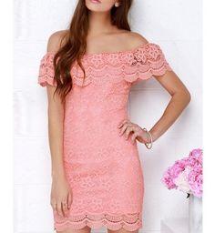 Mini Vestido Renda Slash Neck