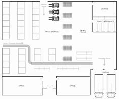 Design warehouse layouts with built-in templates and intuitive controls using SmartDraw. Warehouse Floor Plan, Warehouse Layout, Warehouse Design, 2bhk House Plan, New House Plans, Software Architecture Diagram, 20x30 House Plans, Flow Chart Design, Free Floor Plans