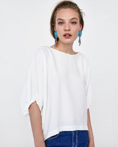 TOP WITH GATHERED SLEEVES-View All-SHIRTS | TOPS-WOMAN | ZARA United States