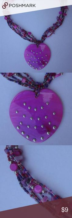 """Fuchsia Heart Shell Pendant Bead Necklace Multi Fuchsia And Purple/ Glass Seed Bead/Shell/ Shell/ Bead /Heart Pendant2 1/2 Inch Drop Down/ Necklace /19"""" Long With A 3"""" Extension. Jewelry Necklaces"""