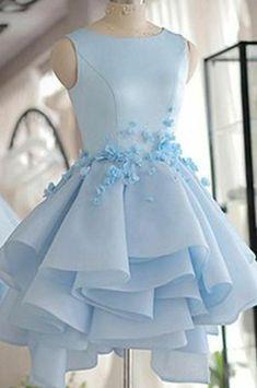 Light Blue Homecoming Dresses, Cute Prom Dresses, Modest Dresses, Pretty Dresses, Formal Dresses, Dresses Dresses, Cheap Dresses For Teens, Beautiful Short Dresses, Bridesmaid Dresses Baby Blue