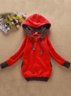 Red Zipper Hooded Sweatshirt$37.00