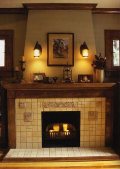 I love the design of the fireplace tile facing as well as the warmth of the lighting.
