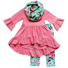 b9f7805a8 So Sydney Toddler Girls 3 Pc Hi Lo Ruffle Flare Tunic Top Outfit, Infinity  Scarf (XS Pink Blue Vintage Floral): This adorable 3 piece outfit is the  perfect ...