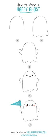 How to Draw a Happy Ghost | #52weeksofhowtodraw | hellohappystudio.com