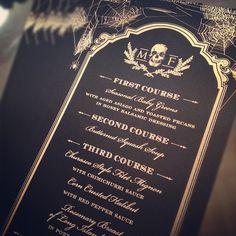 Halloween cobweb menus in black and gold (spiderwebs)