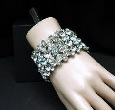 Round Crystal Bridal Bracelet Wedding Cuff by AyansiWeddingDesigns, $57.00