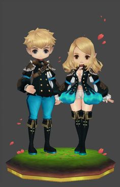 Female and a Male counterpart low poly game characters.