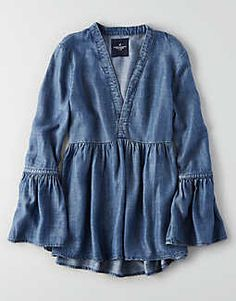 Aeo Chambray Bell Sleeve Shirt by American Eagle Outfitters