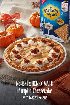 Delicious and easy recipes from your favorite snack brands! of dessert recipes, snack ideas, appetizer recipes, and more for every occasion and holiday. Pecan Recipes, Pumpkin Recipes, Fall Recipes, Holiday Recipes, No Bake Pumpkin Cheesecake, Cheesecake Recipes, Thanksgiving Desserts, Fall Desserts, Great Desserts