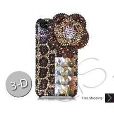 Floral Leopardo 3D Bling Swarovski Crystal iPhone 5 Case - Brown