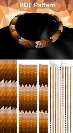 Beading patterns and tutorials, Bead crochet pattern for necklace - weaving patterns Bead Crochet Patterns, Bead Embroidery Patterns, Beading Patterns Free, Bead Crochet Rope, Beading Tutorials, Weaving Patterns, Art Patterns, Knitting Patterns, Mosaic Patterns