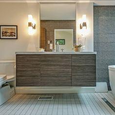 Another view of the floating vanity.  Photo courtesy of @goodalemillerteam  Photo by #Qstudios #Oakvillecabinetry #silestone #lyra #bathroom #vanity #hafelecanada #vanitydesign #salicefutura #interiordesign #design #stevenswood #floatingvanity #houzz