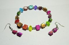 Rainbow Shell and Bead Bracelet and Earrings Set by Sydric on Etsy, $7.25
