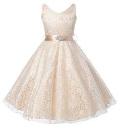 DressForLess Lovely Lace V-Neck Flower Girl Dress , CHAMPAGNE, 6