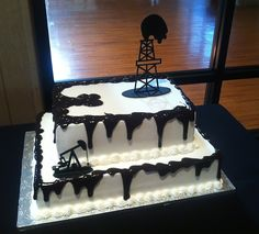 Oil Rig/Oil Spill Groom's Cake Omg possible birthday party idea! Shh