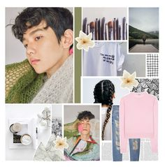 """~in nothing but your tee shirt on ~"" by small-lullabies ❤ liked on Polyvore featuring Ella Doran, Clips, MANGO, Miu Miu, jeans, sweaters, EXO and baekhyun"