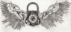 steampunk winged clock