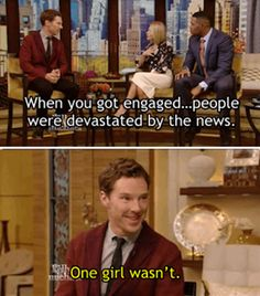 Aw his smile HE IS SO CUTE SQUEEE Benedict Cumberbatch Engagement News Interview