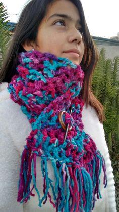 Cuello bufanda, crochet, color matiz calipso, fuccia,lila.