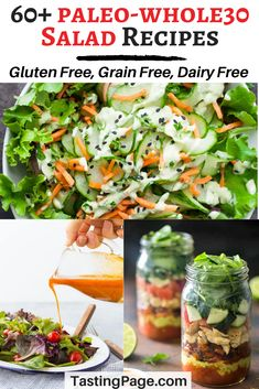 Here are 60 Paleo Whole30 salad recipes with dozens of vegan options. All of the recipes are gluten free, dairy free, grain free, and free from processed ingredients and refined sugar | TastingPage.com #paleo_diet #paleo #whole30 #salad #paleorecipes #paleodiet #salads