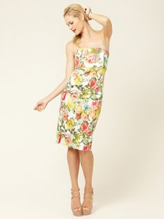 Sara Fitted Cotton Bustier Dress by Alice + Olivia in antique floral print