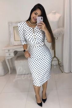 Nice polka dots long dress in 2020 Classy Dress, Classy Outfits, Stylish Outfits, Polka Dot Long Dresses, Cute Dresses, Casual Dresses, Dresses Dresses, Stylish Blouse Design, Dress Outfits