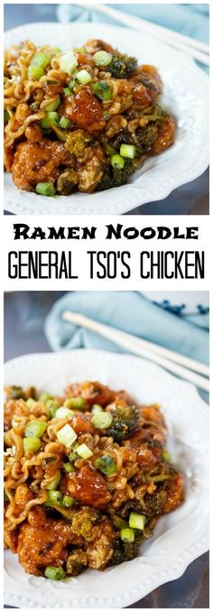 Ramen Noodles General Tso's Chicken: Crispy chicken smothered in a thick and savory General Tso's Chicken sauce and tossed with broccoli and Ramen Noodles! #chinesefoodrecipes