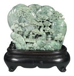 Chinese Art Carved Green Jade Mountain With People on Chairish.com