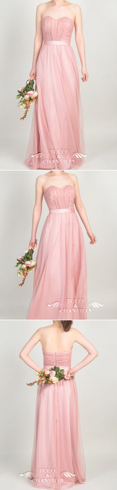 long tulle dusty pink bridesmaid dresses with sweetheart neckline 2015