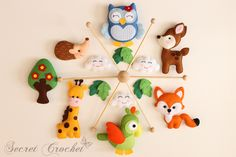 Mobile Giraffe,Papagei,Fuchs,Bamby,Eule,Igel von SecretCrochet auf DaWanda.com #FeltMobile