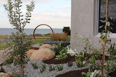 Coastal garden.Native plants,succulents,feature pots & sculpture.Garden Design by RPGD & Tina Lindner building design. www.rpgardendesign.com.au Coastal Gardens, Garden Design, Wreaths, Plants, House, Home Decor, Decoration Home, Door Wreaths, Home