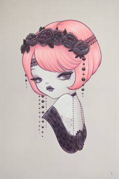 Sweety : Painting by Anarkitty. Acrylic on Canvas 61cmx91cm inspired by 1920's show girls and Zeigfield Follies.