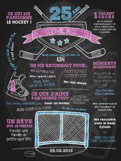 Affiche personnalisée anniversaire pour adulte Fan de hockey (rose) | 35,00$ #chalkboard #lacraieco