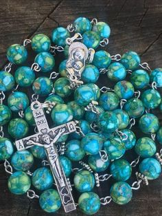 Rosary Necklace, Rosary Beads, Prayer Beads, Praying The Rosary, Holy Rosary, Catholic Crucifix, Catholic Jewelry, Religious Gifts, Blessed Mother