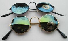 Lot of 2 Sunglasses John Lennon Style Mirror Glasses 70s Round Hippie Retro N4