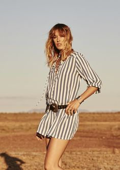 Auguste - Vagabond Nomad Shirt Dress Nautical Stripe - Boho Dress